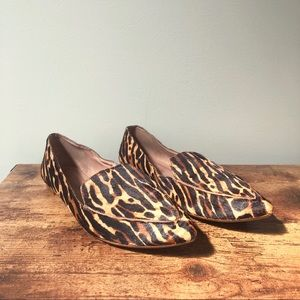 Madewell Lou Leopard Calf Hair Leather Loafers